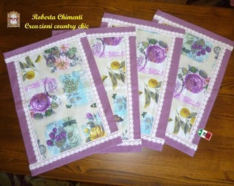 Country breakfast placemats set, placemats with lace, breakfast set, camping set,