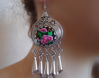 Antique Earrings, Bohemian Women, Fashion Jewelry, Ethnic jewelry, embroidered Earrings, Dangle earrings, Large Hoop earring, Indian Jewelry