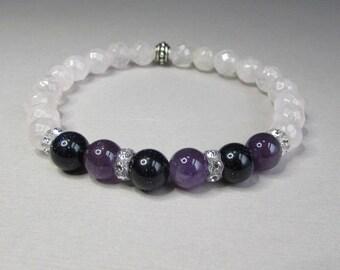 Rose quartz bracelet, Gemstone Beaded Stretch Bracelet with Faceted Rose Quartz, Blue Goldstone, Amethyst and Swarovski crystals, Handmade