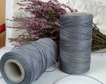 Linen, GRAY waxed linen, thickness  (1mm),  thread / 3 ply