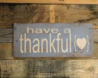 Thankful Heart wood sign
