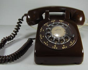 Vintage Brown Rotary Dial Desk Top Telephone in working condition