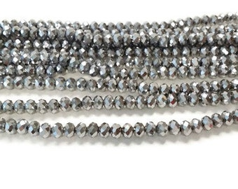 97 4x6mm silver metallic faceted glass beads, Spacer Bead, Bead Supply, rondelle beads, R11