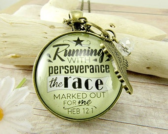 Running With Perseverance the Race Pendant Necklace Scripture Bible Verse Jewelry Runner's Necklace Shoe Charm Marathon Charm Gifts Runners