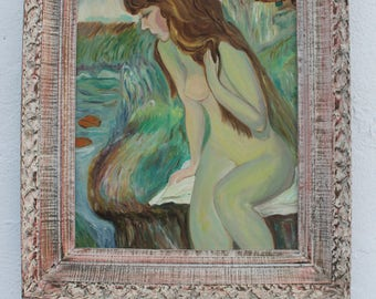 Figural Abstrac Expressionist Female Painting.