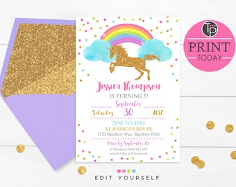 RAINBOW UNICORN INVITATION, Instant Download, Unicorn Invitation, Gold Unicorn Invitation, Rainbow Unicorn Party, Editable invitation, Gold