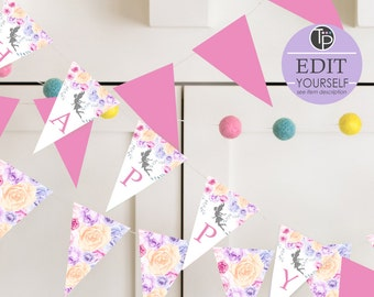 FAIRY PARTY FLAGS, Fairy Bunting, Fairy Bunting Flags, Instant download, Fairy Printable, Fairy Happy Birthday Banner, Fairy Party, Editable