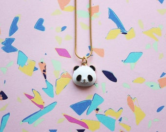 Panda Charm Necklace   Cute Panda Charm on 18krt Gold Plated Chain