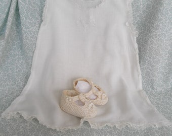 Baby clothes, two handmade pieces, slip dress, crocheted booties, all vintage, free shipping