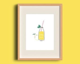 Ilustración 'Lemon juice' print digital en papel reciclado de 250gr para decorar tu hogar. Activo
