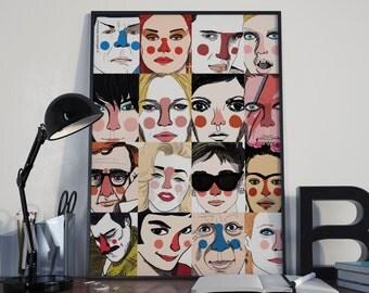 Poster Refherències. Famosos: Marilyn, Woody Allen, Björk, Kate Moss, Audrey Hepburn, Frida Kalho, Winona, David Bowie, Elvis, Picasso