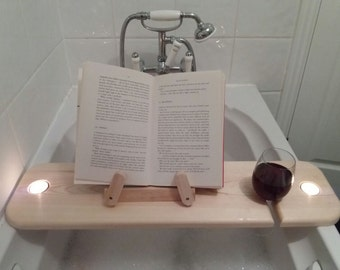 Bath Shelf with slot for wine glass and a book rest