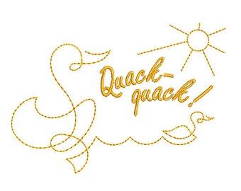 One line design Ducks. Machine Embroidery Design.