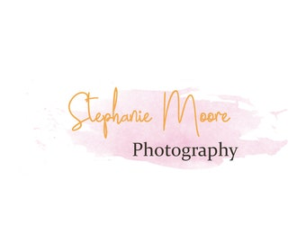 Watercolor Caligraphy Photography Watermark Logo Design Photography Premade Logo Design Feminine digital logo in Pink