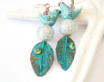 """Copper green Flight Earrings by Howubeadddoin 2 1/2"""""""