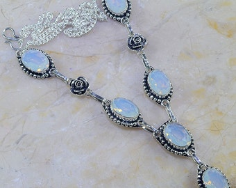 """Light Blue Faceted CHALCEDONY Sterling Silver Princess Style Necklace 20 1/4"""""""