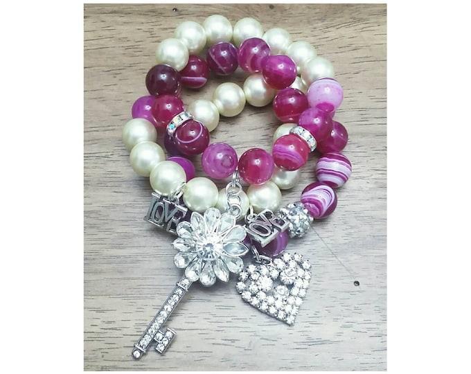 Key To my Heart Fashionable Rhinestone Bracelet Set