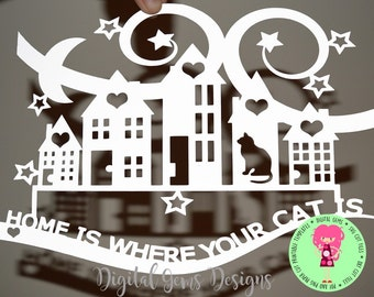 Home is where your cat is SVG / DXF / EPS files and a printable template for hand cutting. Digital Download. Commercial use ok.