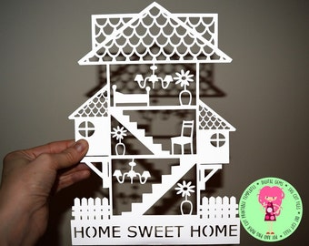Home Sweet Home paper cut svg / dxf / eps / files and pdf / png printable templates for hand cutting. Digital download.