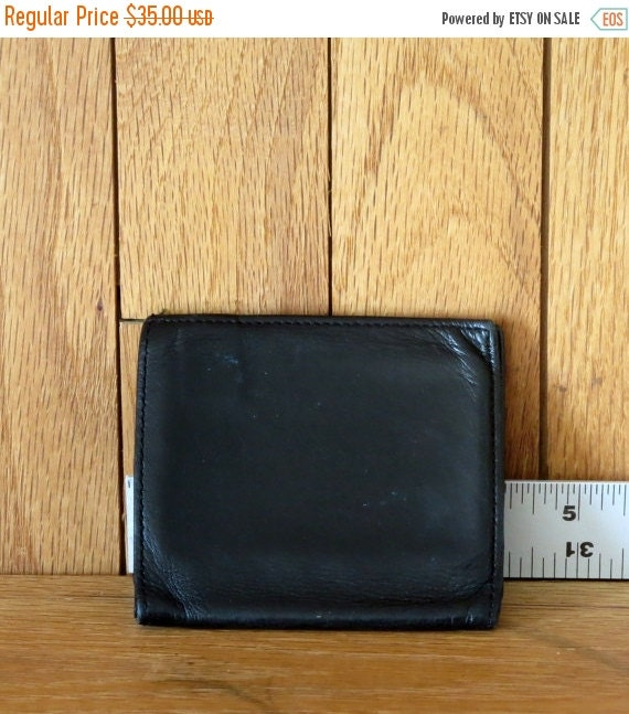 Football Days Sale Coach Tumbled Black Cafskin Compact Coin Wallet- Style No 5634