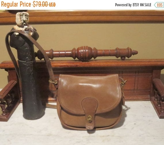 Football Days Sale Coach Saddlery Bag - Putty (Tabac?) Leatherware With Adjustable Cross Body Strap- Made in New York City U.S.A.