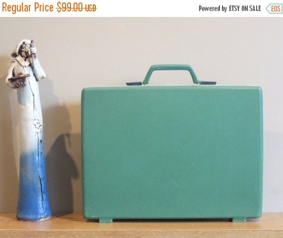 Football Days Sale Vintage Samsonite Misty Green Hard Shell Slim Briefcase Attache With Original Key - Rare Retro- VGC
