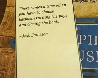 Josh Jameson Literary / Reading Inspirational Quote Bookmark / laminated bookmark / traditional bookmark / jeweled bookmark / sale