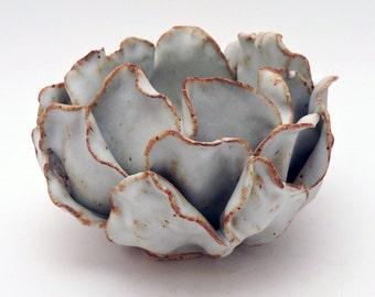 Ceramic Flower, White Flower Vase or Candle Holder, Organic Design, Handmade Ceramic Art, Ceramic Decor, Home Decor