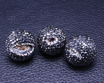 3 Rhinestone Bead,Round Gold Beads,Black Ball Beads,Druzy Stone Faceted Beads For Bracelet Necklace Charms Jewelry Making Supplies