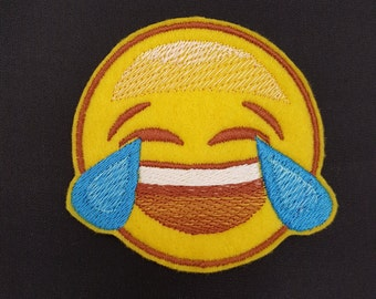 Emoji crying face Howler Embroidered Patch Badge Iron on or sew