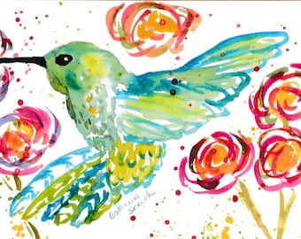 hummingbirds, watercolor birds, hummingbird paintings, original watercolor, greeting cards, thank you cards, hummingbird art, bird paintings
