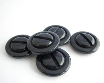 "5 large navy blue buttons, chunky buttons with shanks, 35 mm - 1 3/8"", unused!!"