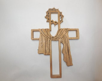 Crown of thorns wooden wall cross made out of Ash wood.