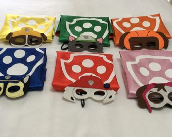 Paw patrol capes n masks, party favors, kids capes, personalized capes