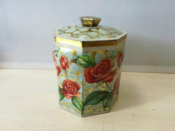 cookie tin, flowers, roses