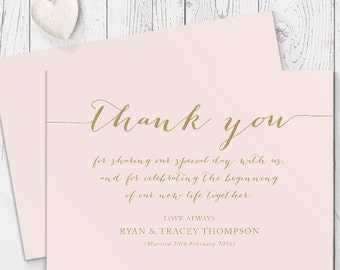 Blush Pink and Gold Wedding Thank You Card, Calligraphy, Free Colour Changes, Professionally Printed - Peach Perfect Australia