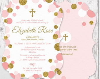 Pink and Gold Glitter Dots Girl Baptism Christening Invitations | A5 Die Cut Scallop Shape, Free Colour Changes | Peach Perfect Australia