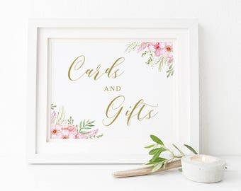 Cards and Gifts Wedding Sign, Pink and Gold Floral, Printable Gift Sign, Instant Download, Peach Perfect Australia