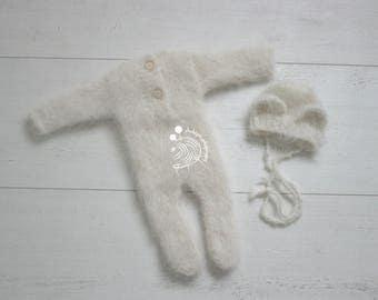 Newborn outfit,Newborn photography props, Newborn photo props, Creamy outfit,Alpaca ,Newborn bonnet,Newborn onesie,Teddy bear outfit,fluffy