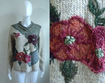 floral embroidered sweater size small, acrylic & wool blend flower sweater, 80s chunky knit womens sweater, womens jumper