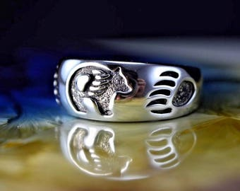 Sterling silver ring with a Navajo Grizzly Bear design and Bear Paws Size: 7 through 15.5 available