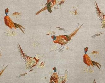 Fryetts Beige Country Pheasant Natural Curtain Fabric - Buy per metre