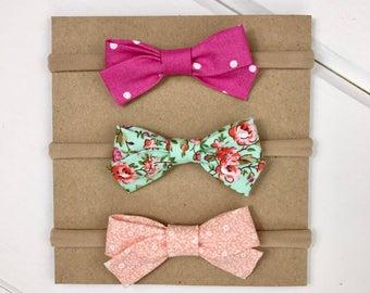 Mini Bow Headband Trio - Spring Blooms, Baby Headband Set