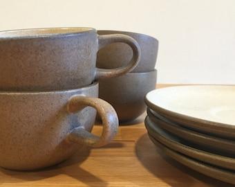Vintage Heath Ceramics Pair Coupe Flat Cup and Saucer | Nutmeg Sandalwood Sand Teacup Tea Cup | Mid Century Modern Studio Pottery
