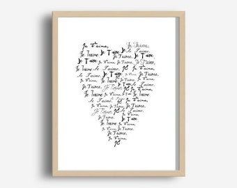 Je T'aime, Inspirational Quote Print,  Printable Wall Art, French Quote, Heart Print, je t'aime Print, Love Quote,  Digital Download