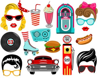 50's digital photo booth party props instant download