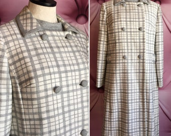 60s 1960s wool plaid white gray grey dress coat suit set vintage