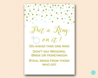 Mint and Gold Bridal Shower Games, Put a ring on it game, Dont Say Bride Game, Don't Say Game, Bridal Shower Game, Shower Games BS488