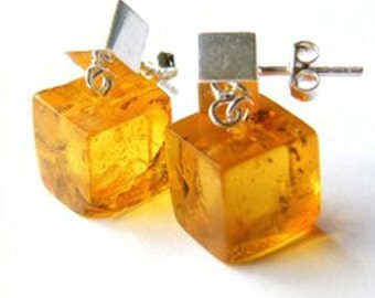 Amber Earrings HONEY, sterling  Silver 925, yellow, honey transparent, New, bltic amber,  Unique