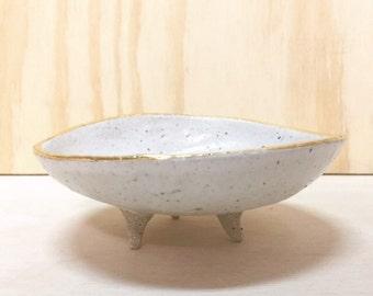 ceramic bowl with 22k gild rim
